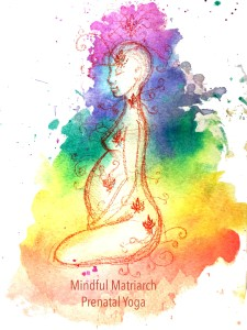 watercolor of pregnant yogi